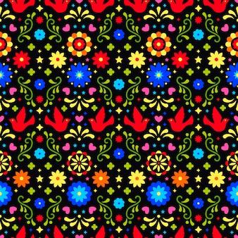 Meksykański folklor ornament na ciemnym tle