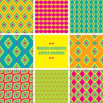 Meksykański folklorystyczny maswerk tekstylny bezszwowy wzór
