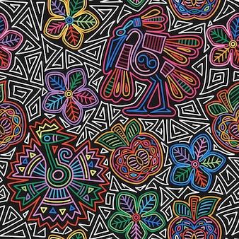 Meksykański haft wzór kolorowy i ozdobny etniczny wzór ptaki i kwiaty ciemne tło...