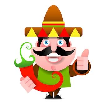 Meksykański mężczyzna w sombrero seansu ok znaku