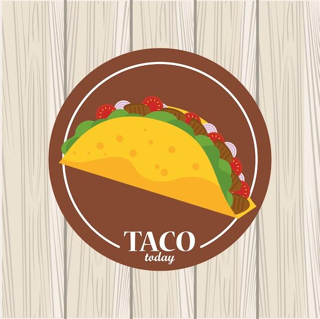 Meksykański plakat obchody dnia taco w drewnianym tle.