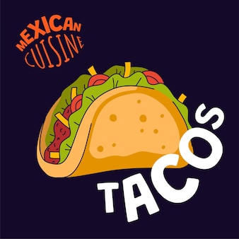 Meksykański plakat tacos meksyk fast food taqueria knajpka kawiarnia lub restauracja baner reklamowy latin