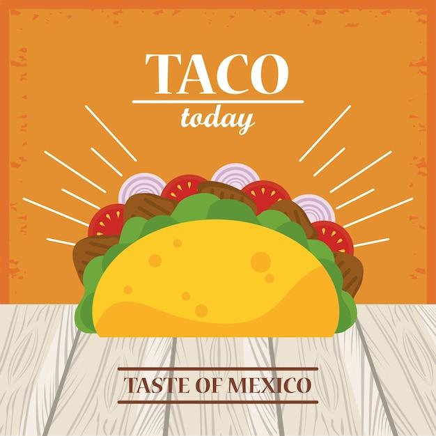 Meksykański plakat z okazji dnia taco w drewnianym stole.