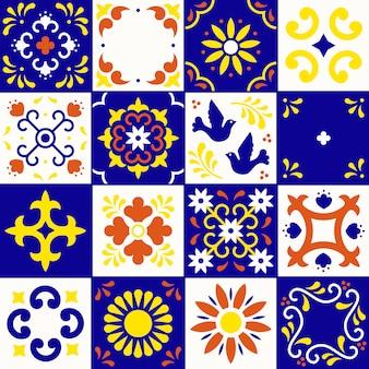 Meksykański wzór talavera. płytki ozdoby w tradycyjnym stylu od puebla. meksykańska mozaika kwiatowa