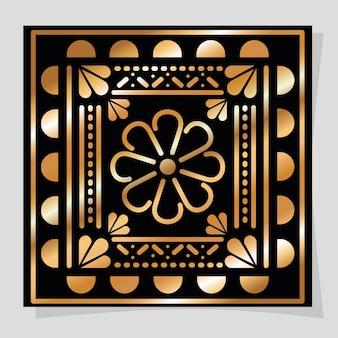 Meksykański złoty i czarny kwiat w konstrukcji ramy.
