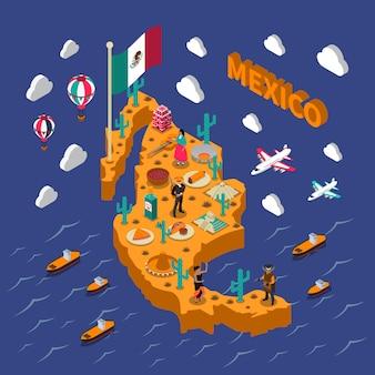 Meksykańskie atrakcje turystyczne symbole izometryczne mapa