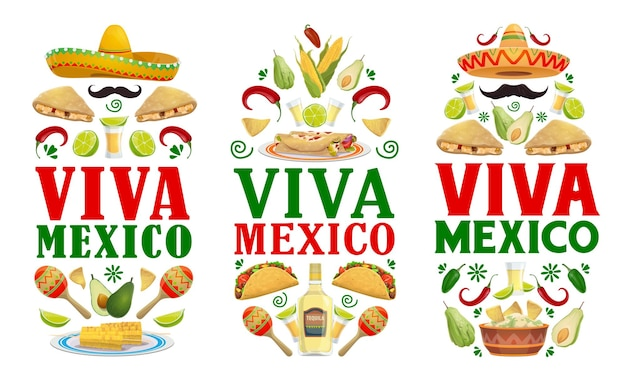 Meksykańskie banery świąteczne jedzenie fiesty viva mexico