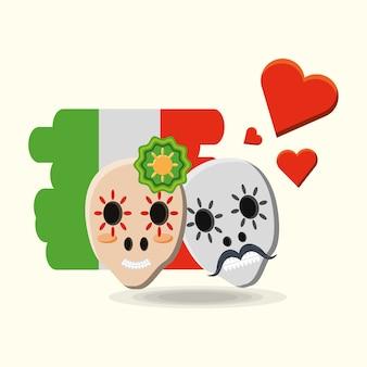 Meksykańskie cukrowe czaszki i serca nad meksykańską flaga nad białym tłem