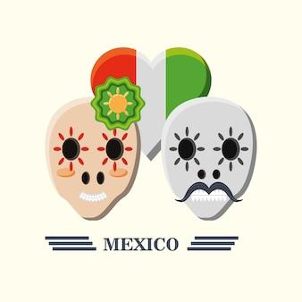 Meksykańskie cukrowe czaszki i serce z meksykańską flaga w kierowym kształcie nad białym tłem