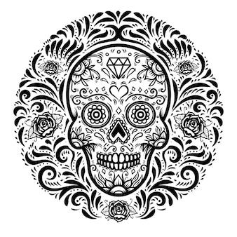 Meksykańskie czaszki cukru z tle kwiatowy wzór. dzień śmierci.