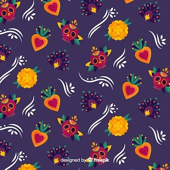 Meksykańskie dekoracje dia de muertos wzór