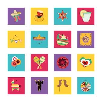 Meksykańskie elementy zestaw ilustracji
