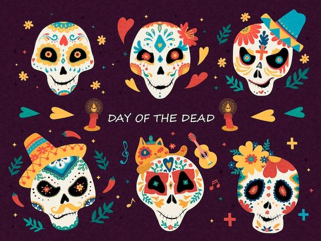 Meksykańskie emotikony czaszki cukru