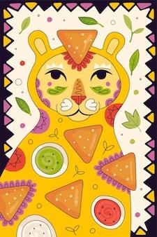 Meksykańskie fast foody nachos ręcznie rysowane plakat dla menu restauracji kuchni meksykańskiej. baner reklamowy restauracji z kuguarem z ameryki łacińskiej i tradycyjną przekąską nacho i guacamole, salsą, sosem serowym