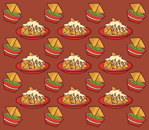 Meksykańskie jedzenie gastronomia tło wzór