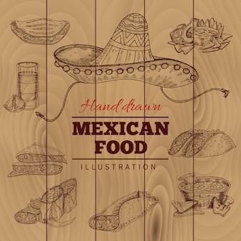 Meksykańskie jedzenie ręcznie rysowane ilustracja