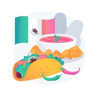 Meksykańskie jedzenie streszczenie ilustracja koncepcja. kuchnia latynoamerykańska, restauracja meksykańska, przepis na burrito, potrawy tex mex, kuchnia tradycyjna, danie pikantne, etniczne menu obiadowe