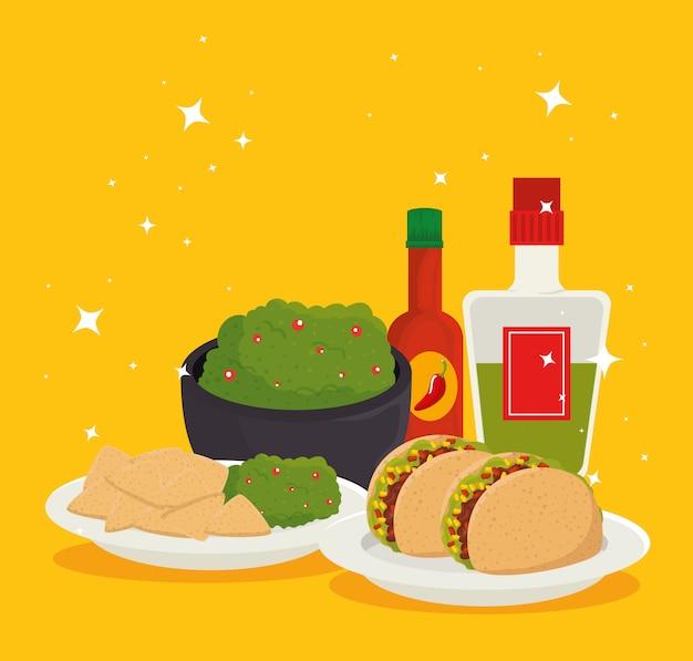 Meksykańskie jedzenie z tequilą do tradycyjnego świętowania