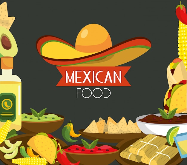 Meksykańskie jedzenie z tequilą i tradycyjnymi sosami