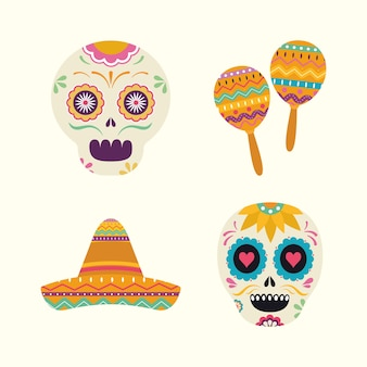 Meksykańskie marakasy z głowami czaszek i kapelusz, motyw kultury meksykańskiej