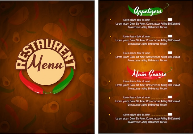 Meksykańskie menu dla restauracji i kawiarni.