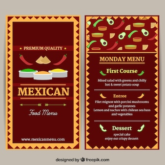 Meksykańskie menu restuarant