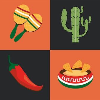 Meksykańskie obchody cztery zestaw ikon