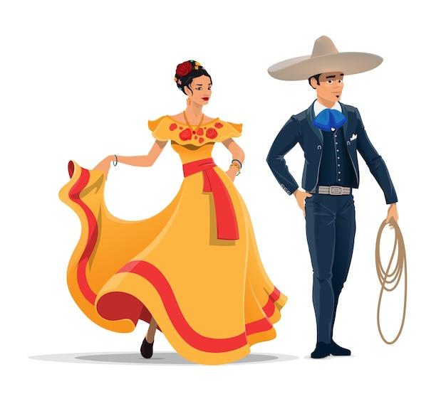 Meksykańskie postacie z kreskówek mężczyzny i kobiety w strojach narodowych i sombrero.