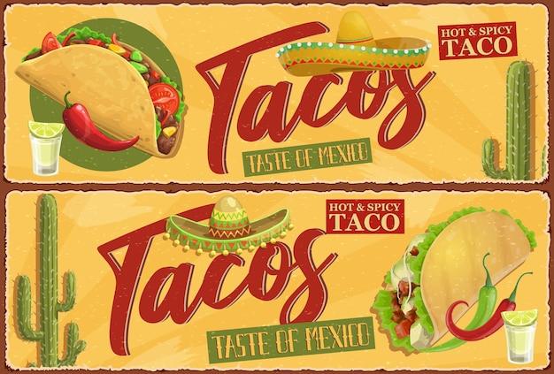 Meksykańskie tacos retro banery. meksykańskie jedzenie uliczne, ostre tacos z mięsem, sałatą i ostrą papryczką chili, pomidorami i serem. charro sombrero, pustynny kaktus i kieliszek tequili z cytryną