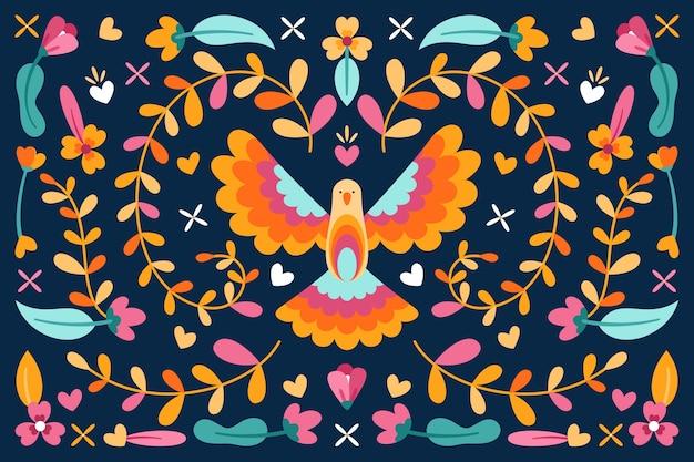 Meksykańskie tło z kwiatami i kolorowe gołąbki pokoju