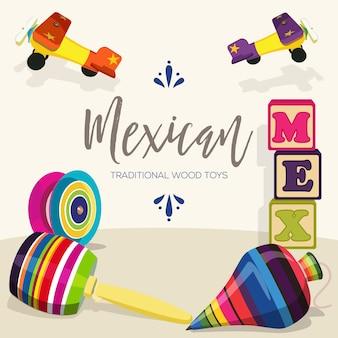 Meksykańskie tradycyjne drewniane zabawki - ilustracja