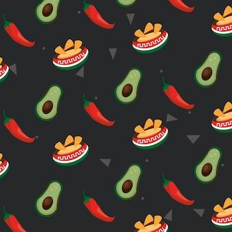 Meksykańskie uroczystości ikony wzór jedzenie