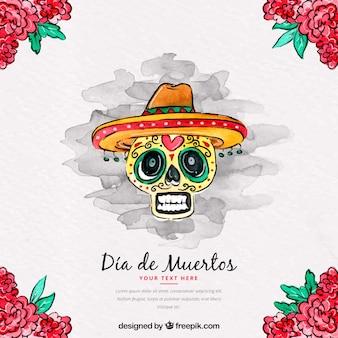 Meksykańskimi czaszki tle dekoracji kwiatu akwarela