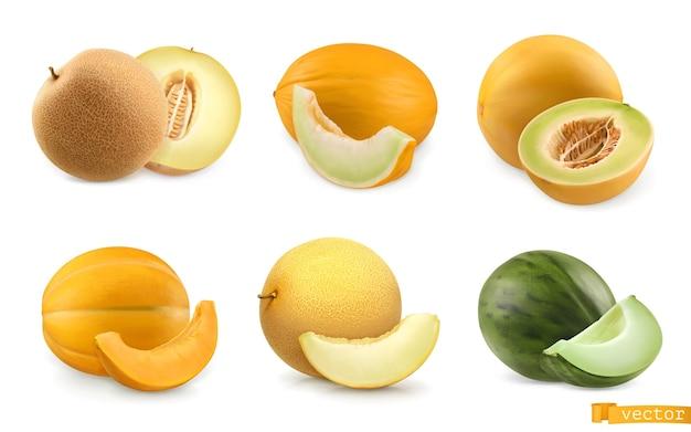 Melony, słodkie owoce. 3d realistyczny zestaw ikon