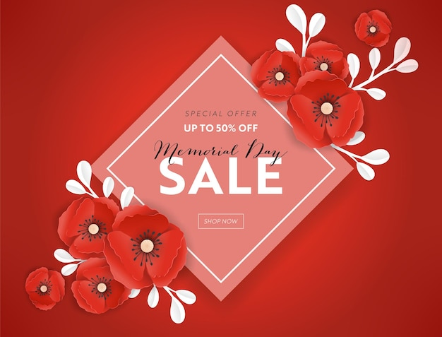 Memorial day sprzedaż transparent z czerwonego papieru wyciąć kwiaty maku. plakat rabatowy dzień pamięci z symbolem kawałka maków na ulotki promocyjne, broszury, ulotki. ilustracja wektorowa