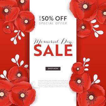 Memorial day sprzedaż transparent z czerwonego papieru wyciąć kwiaty maku. plakat rabatowy dzień pamięci z symbolem maków kawałek na ulotki promocyjne, broszura origami, ulotka. ilustracja wektorowa