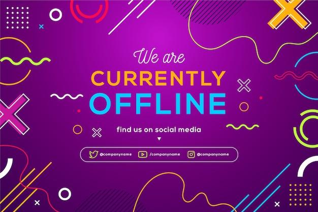 Memphis offline twitch banner z kolorowymi kształtami i liniami