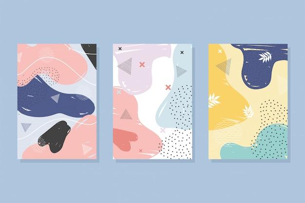 Memphis styl abstrakcyjna dekoracja kolor plamy broszura lub obejmuje minimalną ilustrację