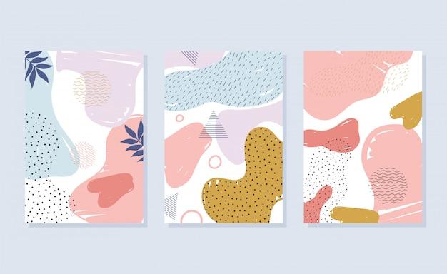 Memphis styl dekoracji streszczenie kolor plamy broszura lub obejmuje ilustracja projektowania mody