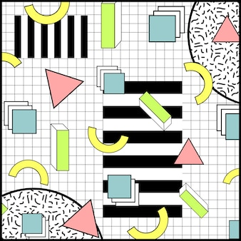 Memphis style geometryczne kolorowe tło