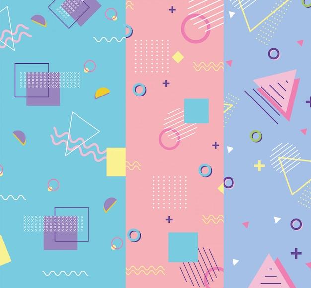 Memphis tworzą trójkąt i kwadraty abstrakcyjne banery w stylu lat 80-tych 90-tych