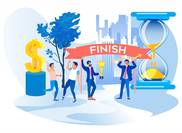 Men celebrate finish successful project