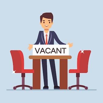 Menedżer biznesmen płaski charakter zaprasza na rozmowę kwalifikacyjną