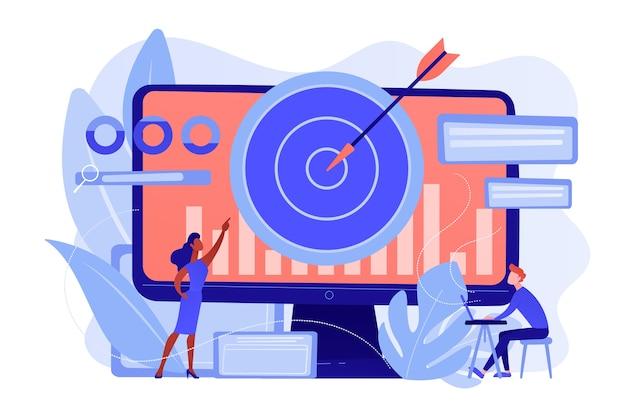 Menedżer ds. remarketingu i specjalista umieszczają ukierunkowane reklamy. strategia remarketingowa, narzędzie marketingu cyfrowego, koncepcja metodologii generowania odwiedzających. różowawy koralowy bluevector ilustracja na białym tle