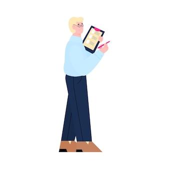 Menedżer hr lub rekruter z listą kandydatów do pracy w ręce, płaski kreskówka wektor ilustracja na białym tle. rekrutacja i zatrudnianie wizerunku kadr.
