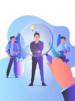 Menedżer hr patrzy przez biznesmena w poszukiwaniu kandydatów do pracy przez lupę. pracownicy, pracodawca, rozmowa kwalifikacyjna, casting. pojęcie polowania na głowy.