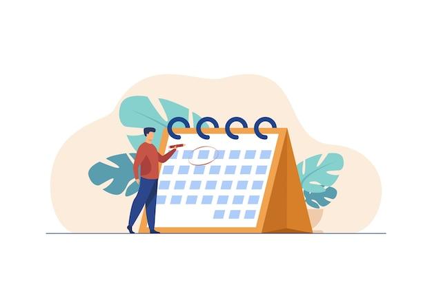 Menedżer planowania wydarzenia. mężczyzna oznaczający datę na płaskiej ilustracji strony kalendarza.