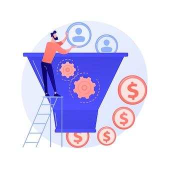 Menedżer pracujący z postacią z kreskówki odbiorców docelowych. proces marketingowy, konwersja klientów, odwiedzający witrynę. generowanie leadów, przyciąganie klientów.