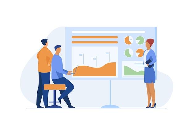 Menedżer przedstawiający raport współpracownikom, partnerom, inwestorom. schemat, wykres słupkowy, ilustracja wektorowa płaski wykres. prezentacja biznesowa, analiza