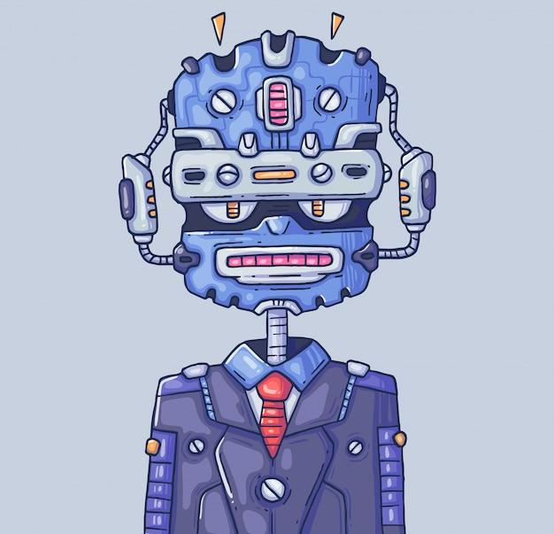 Menedżer robota. chatbot lub pomocnik robota. ilustracja kreskówka postać w nowoczesnym stylu graficznym.